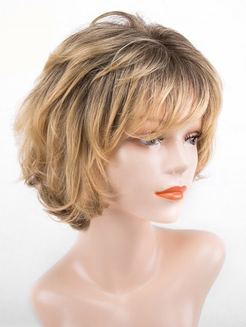 Brown Side Bang Slightly Curly Colormix Synthetic Wig