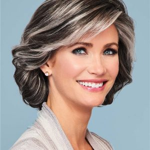 Black & White Chasty Wig Modern Lace Front Monofilament By Gabor