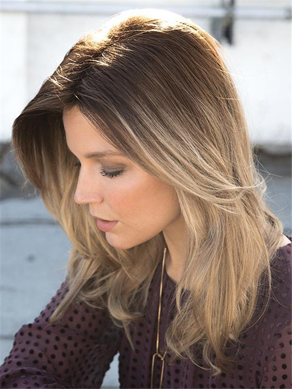 Rooted Colored Synthetic Hair Topper Basic Base
