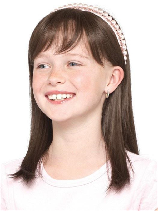 Blonde Kids' Wigs Synthetic Lace Front Wig Mono Top