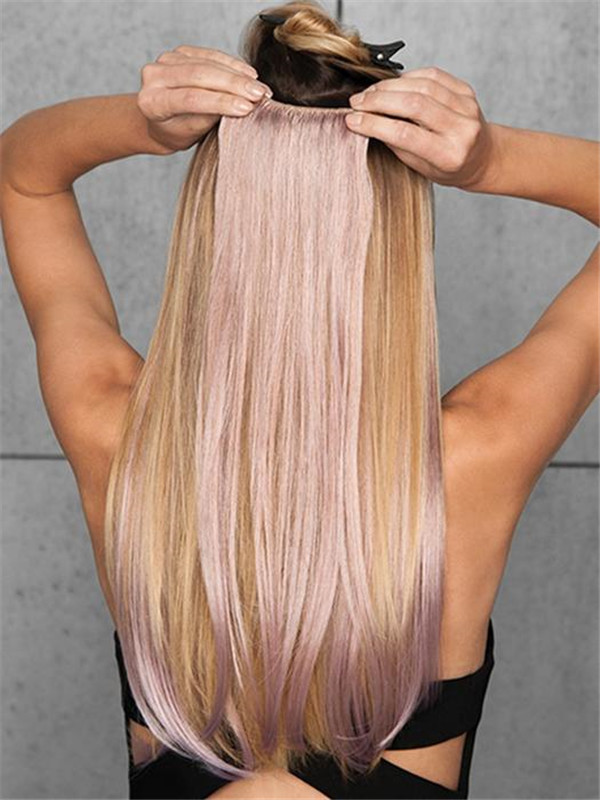 """Colored 23"""" Straight Hf Synthetic Hair Extensions Kit (6 Piece) 