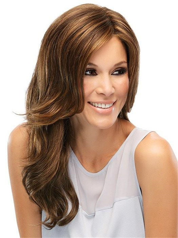 Black Brunette Synthetic Lace Front Wig Mono Top