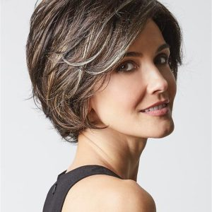 Gray Brunette Layered Synthetic Lace Front Wig Mono Part