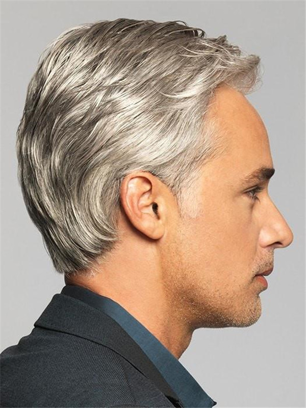 Gray Monofilament Hf Synthetic Lace Front Wig Mono Top
