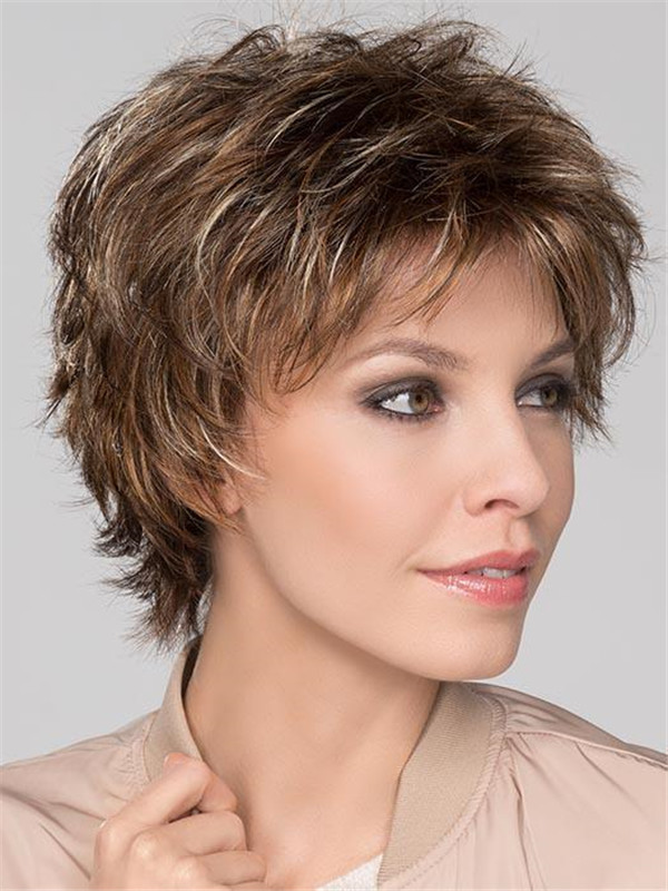 Red Rooted Short Synthetic Wig Basic Cap