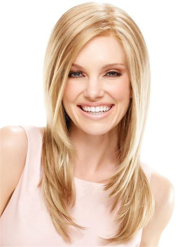Blonde Brunette Synthetic Lace Front Wig Mono Top