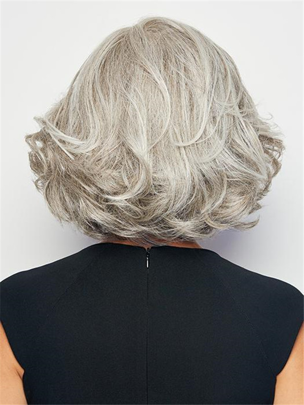 Gray HF Synthetic Lace Front Wig Mono Part