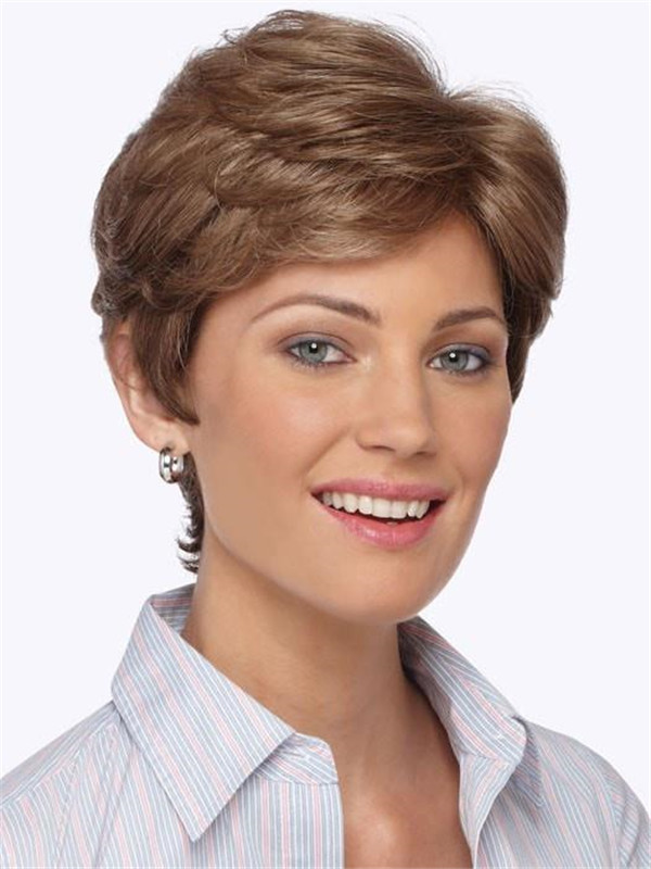 Red Brunette Synthetic Wig Basic Cap
