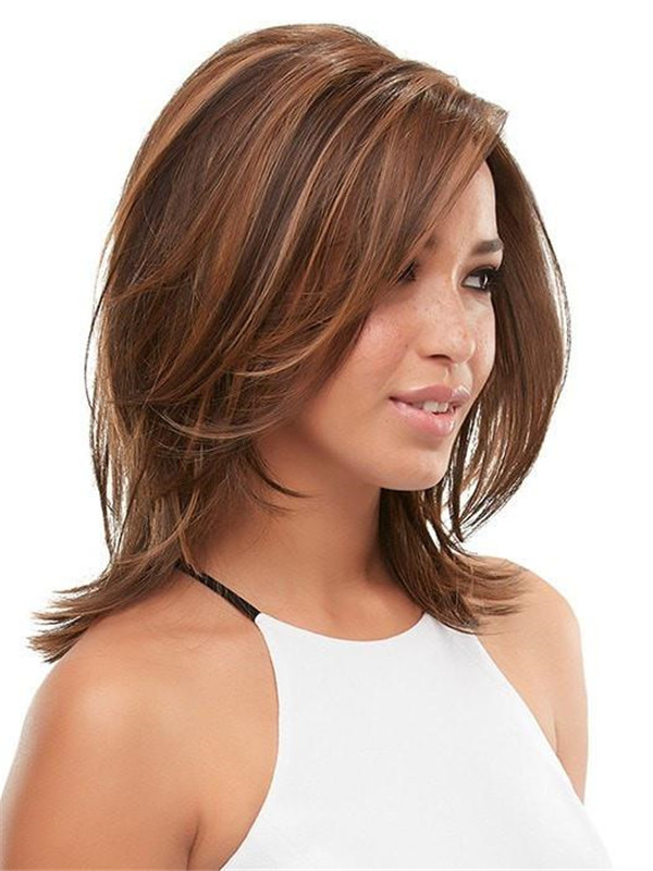 Black Rooted Synthetic Lace Front Wig Mono Top