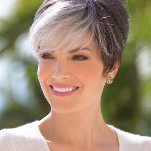 Gray Rooted Brunette Synthetic Wig Basic Cap