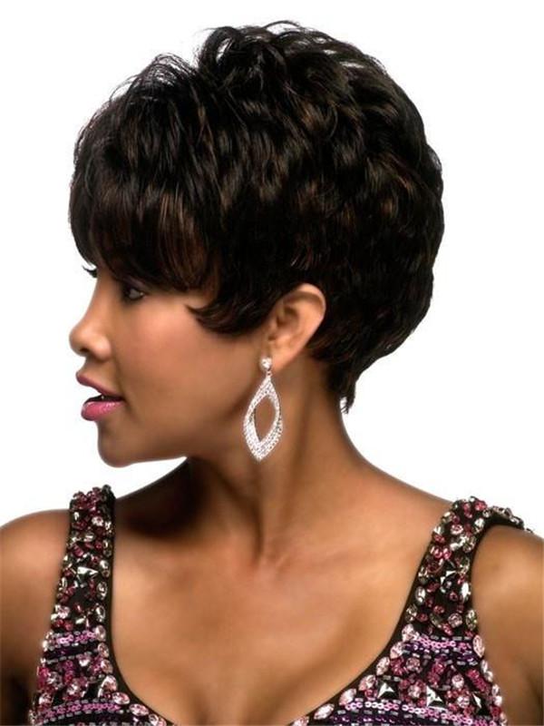 Black African American Human Hair Wig Basic Cap