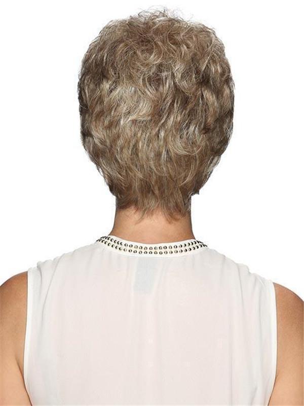 Gray Brunette Pixie Synthetic Wig Basic Cap