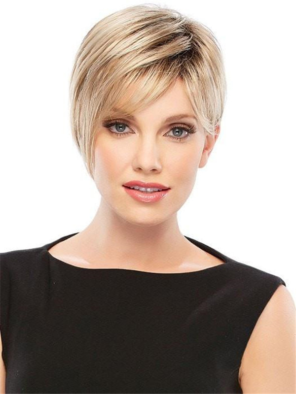 Blonde Women's Rooted Synthetic Wig Basic Cap