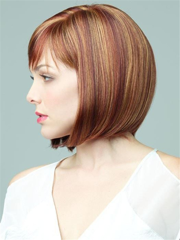 Red Rooted Synthetic Wig Mono Part