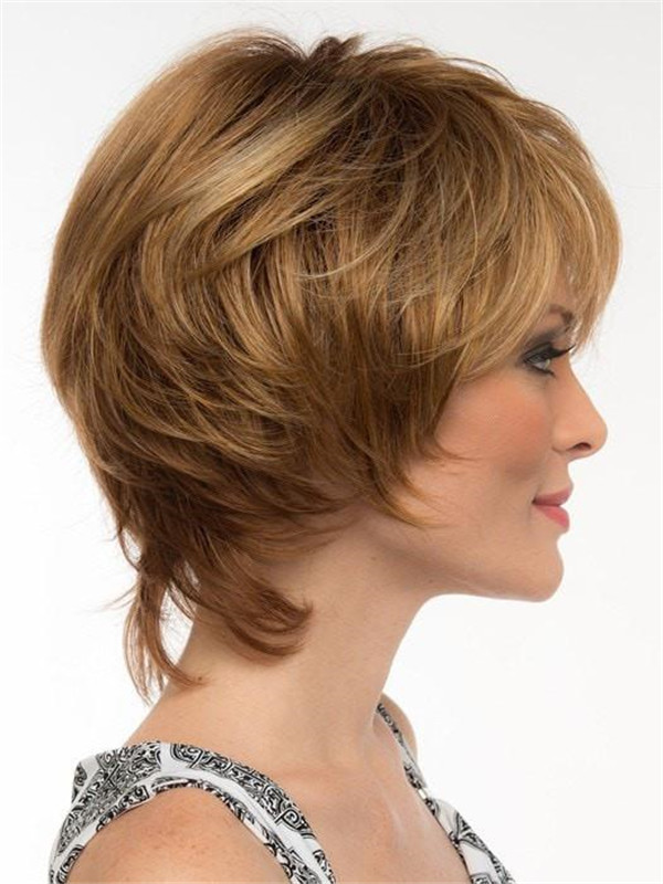 Gray Layered Synthetic Wig Mono Top