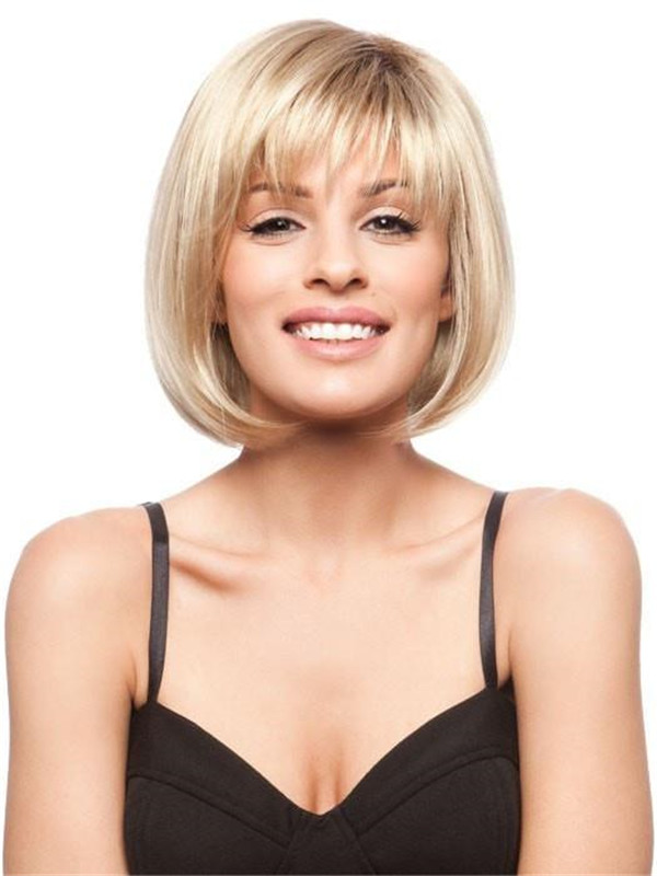 Blonde Brunette Synthetic Wig Basic Cap