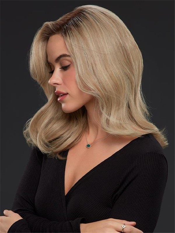Blonde Rooted Remy Human Hair Lace Front Wig Mono Top