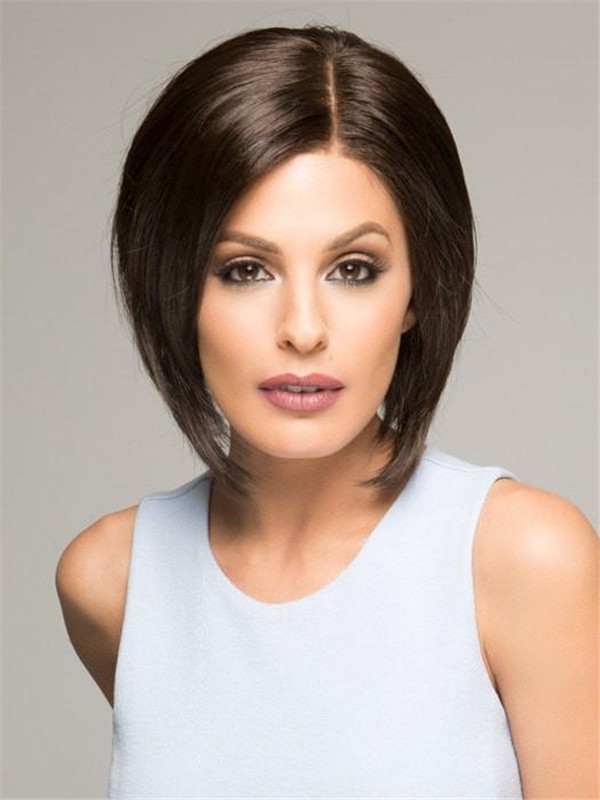 Gray Wigs Bob Synthetic Lace Front Wig Mono Top