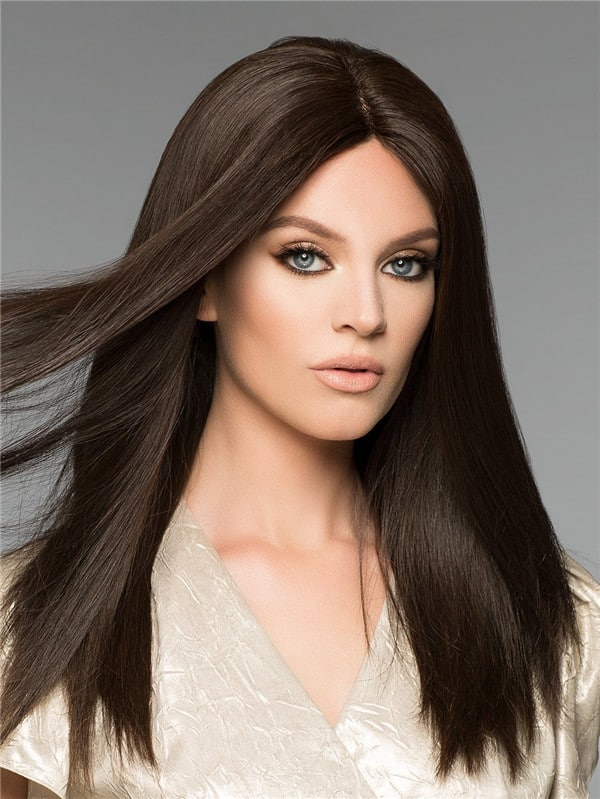 Red Brunette Human Hair Wig Mono Top
