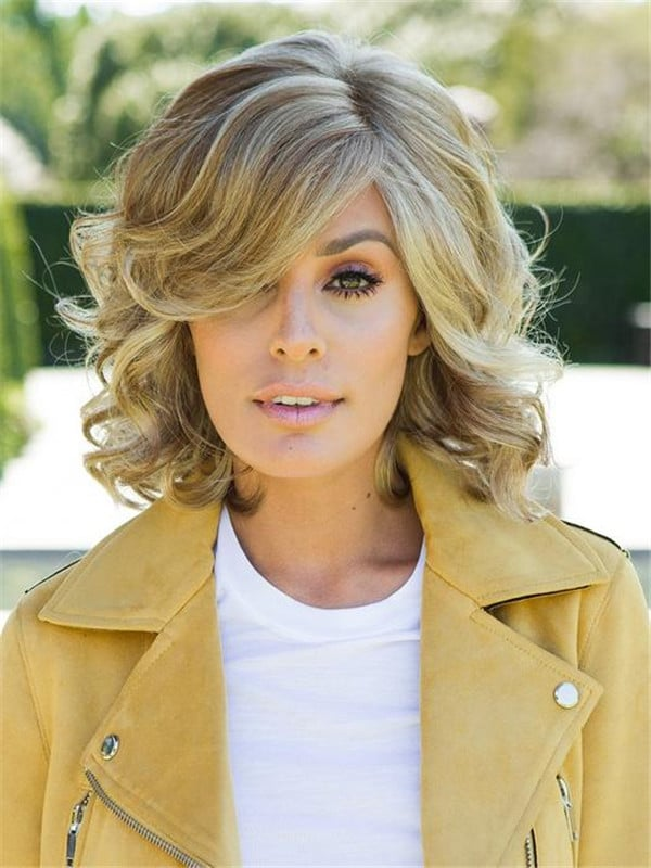 Blonde And Gray Synthetic Lace Front Wig Rooted For Women