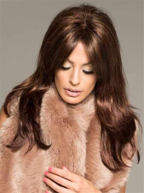 Red Synthetic Lace Front Wig Mono Top