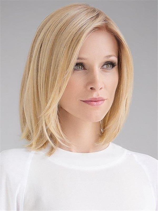 Blonde Human Synthetic Hair Blend Lace Front Wig Mono Top