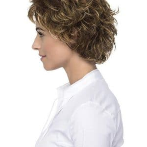 Gray And Blonde Curly Synthetic Wig Basic Cap For Women