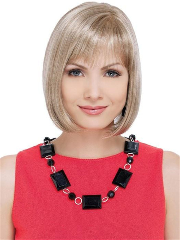 Gray And Red Emma Synthetic Wig Mid-length For Women