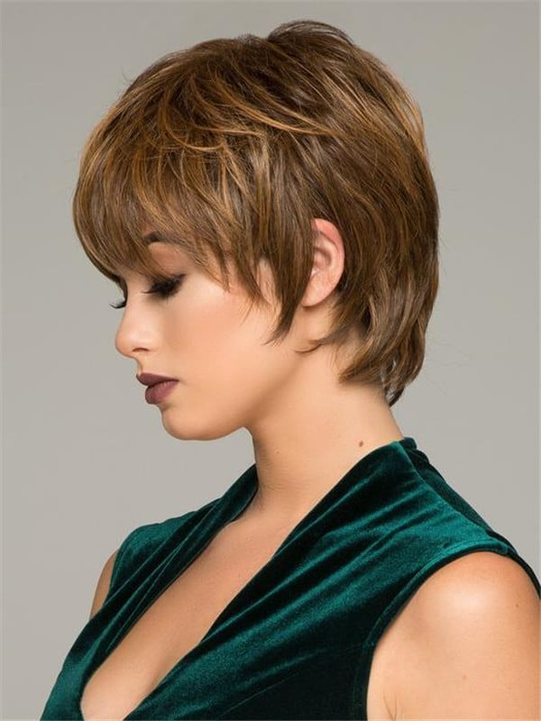 Black Hf Short Synthetic Wig Basic Cap