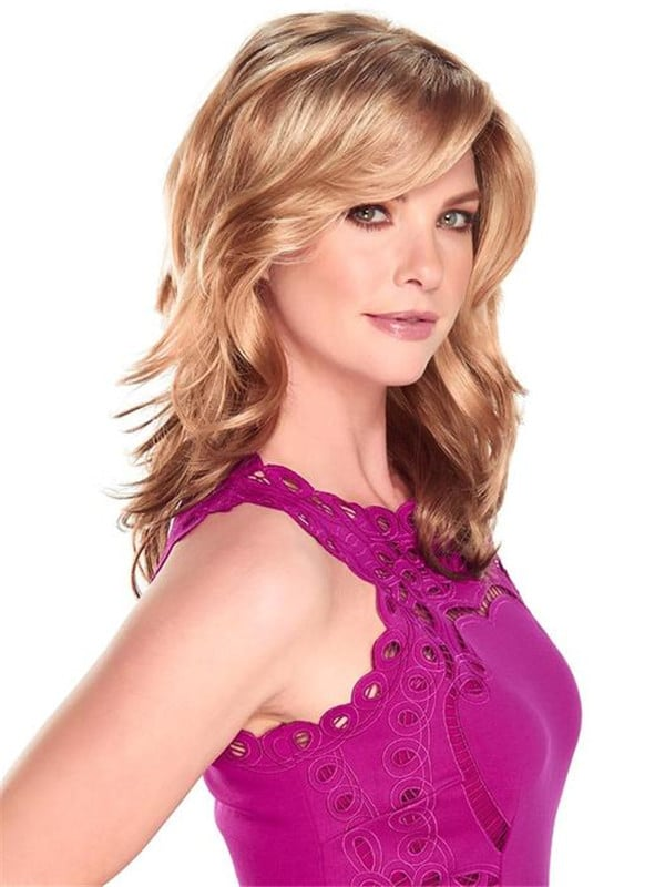 Blonde And Black Synthetic Lace Front Wig Monofilament
