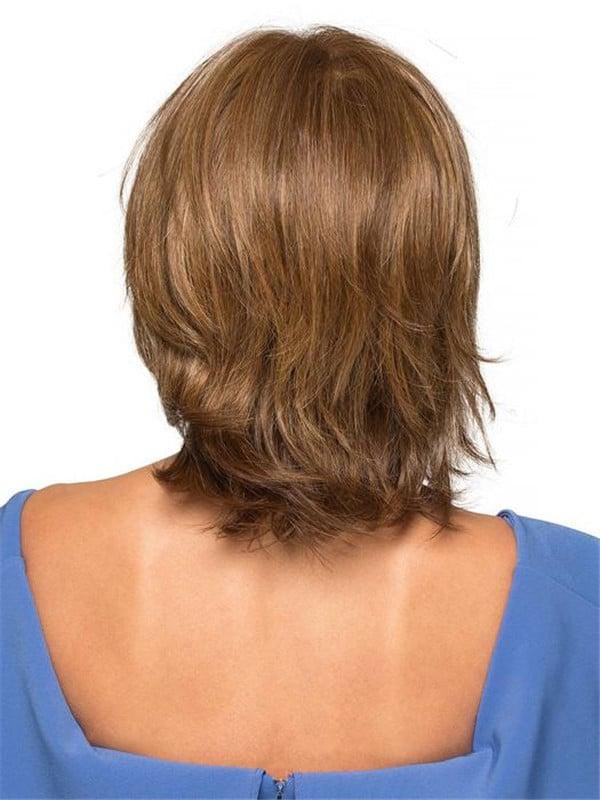 Black Human Hair Synthetic Blend Wig Mono Top