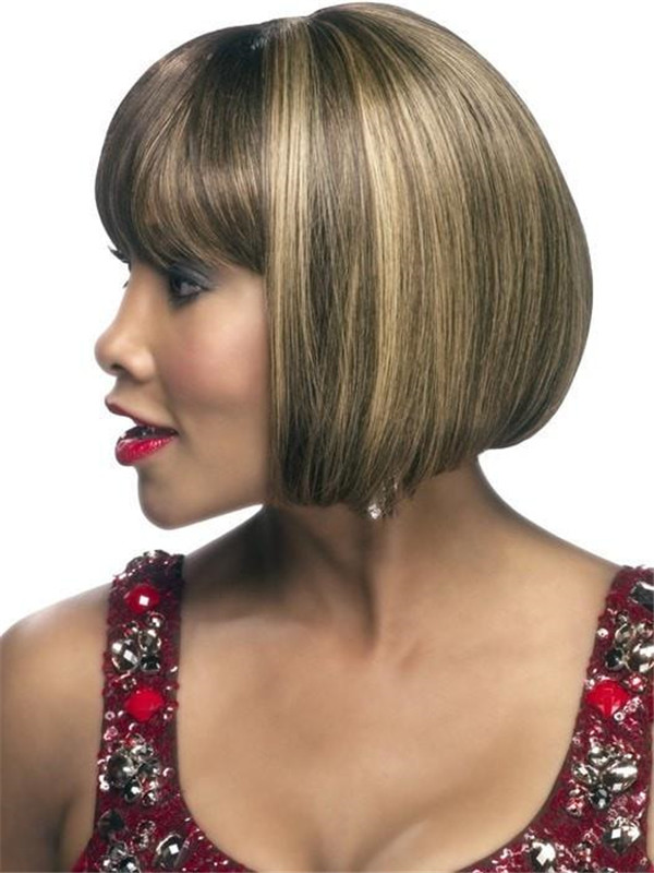 Black H-280 Human Hair Wig Skin Part For Women