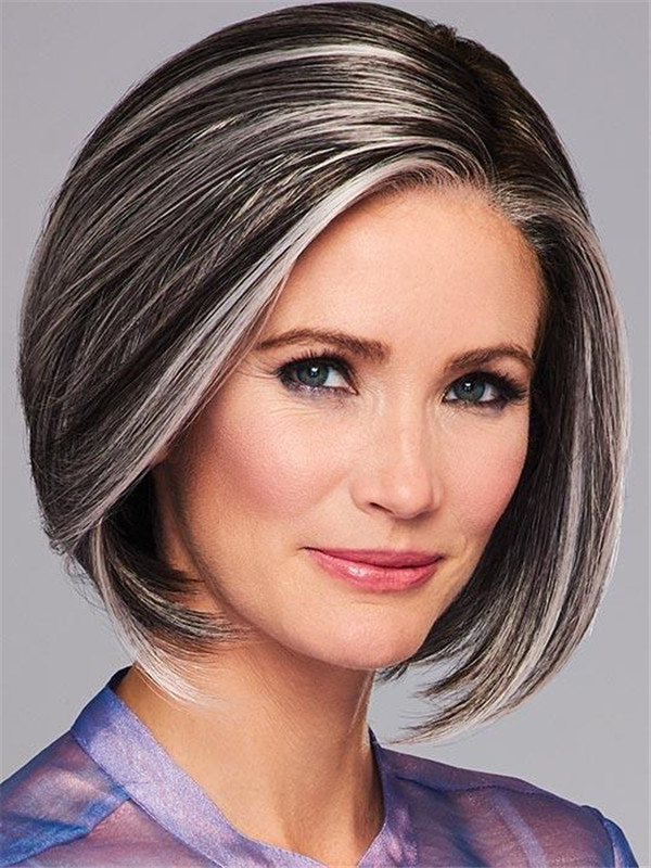 Gray And Red High Society Synthetic Lace Front Wig For Women