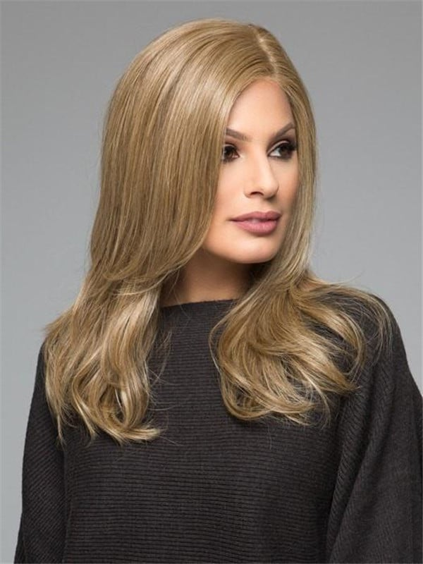 Black And Blonde Synthetic Human Hair Blend Wig For Women