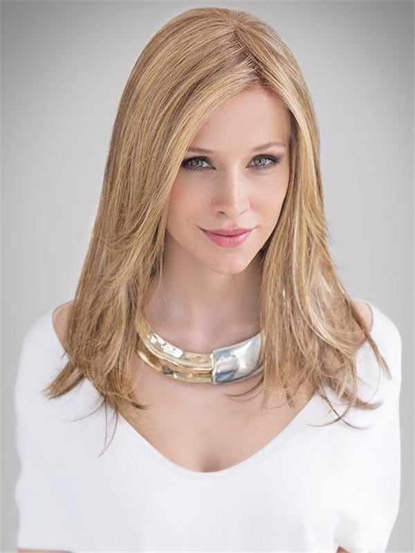 Blonde Human Synthetic Hair Blend Lace Front Wig Hand-tied