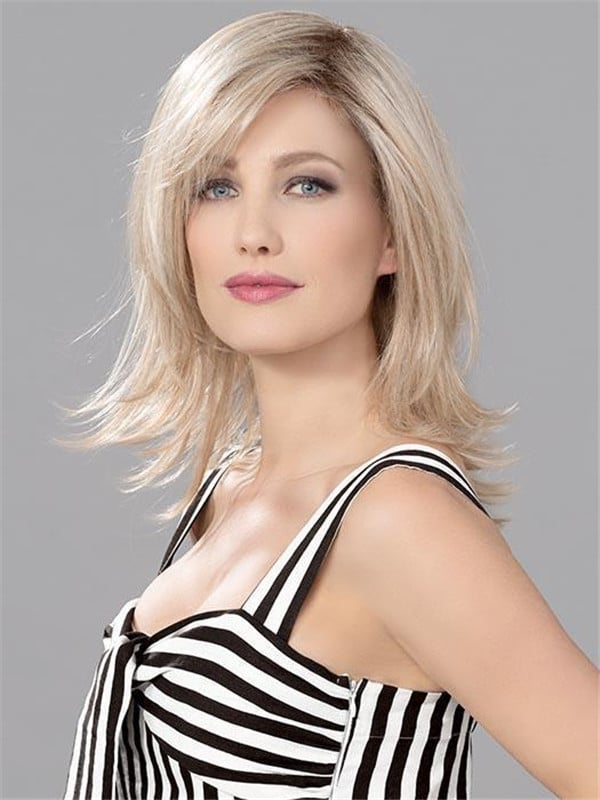 Blonde Human Synthetic Hair Blend Lace Front Wig Mono Part