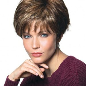 Gray And Red Synthetic Wig Basic Cap For Women