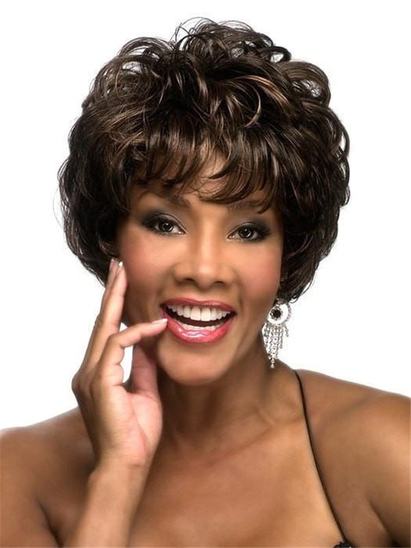 Black And Gray Curly Synthetic Wig Basic Cap For Women