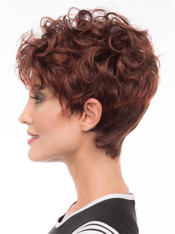 Red And Black Synthetic Wig Basic Cap Curly For Women