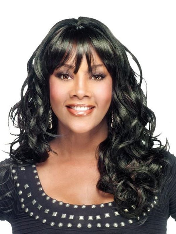 Black And Blonde Curly Synthetic Wig Basic Cap For Women