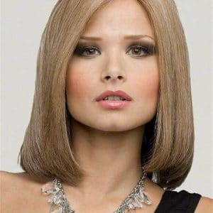 Red And Blonde Human Hair Synthetic Blend Lace Front Wig Monofilament