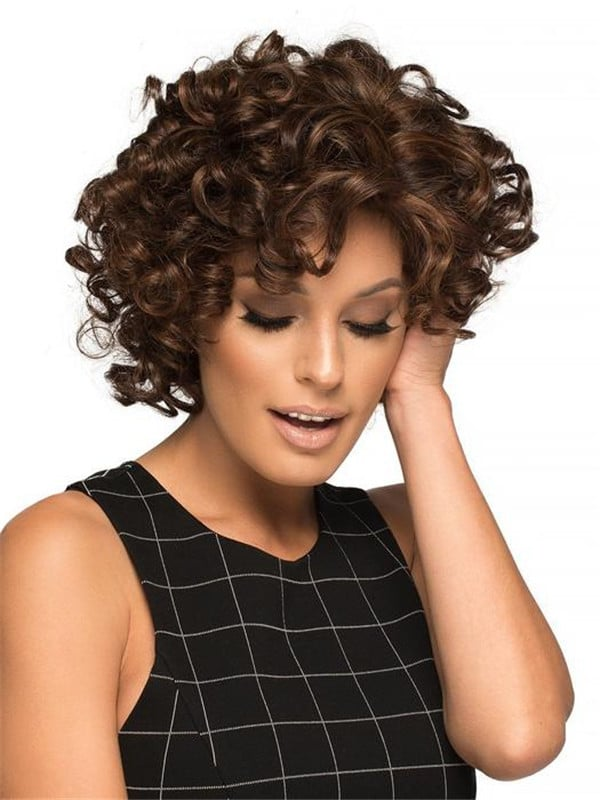 Black And Gray Human Hair Synthetic Blend Wig For Women