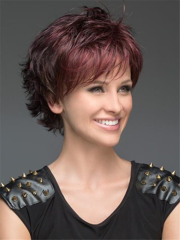 Red Open Synthetic Wig Mono Crown