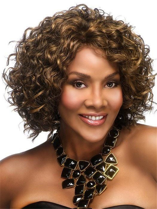 Black And Gray Oprah-2 Synthetic Wig Basic Cap For Women