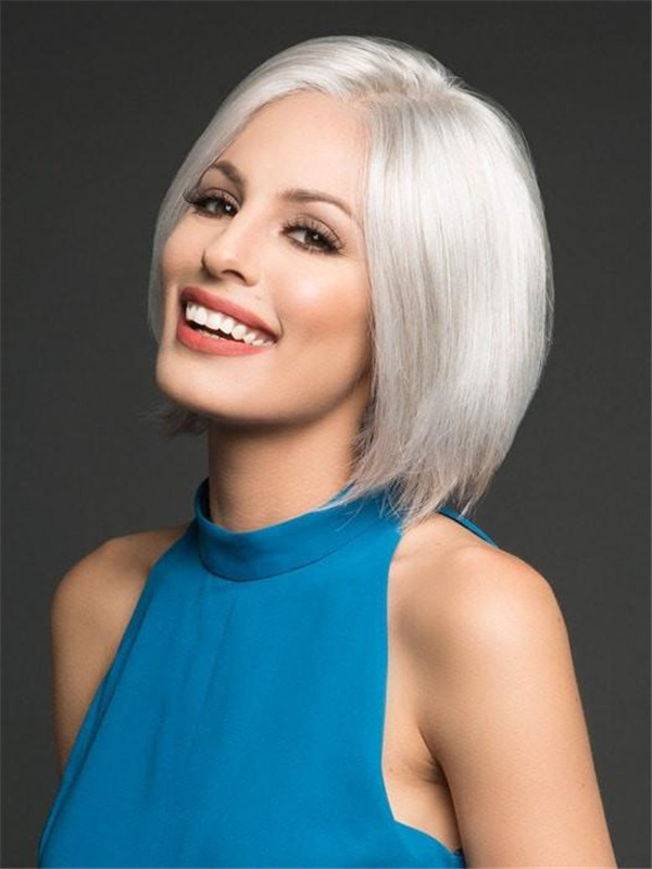 Gray And Red Opulence Synthetic Lace Front Wig For Women