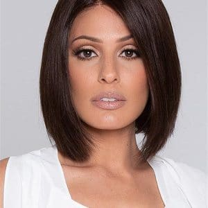 Black Human Hair Lace Front Wig Mono Top