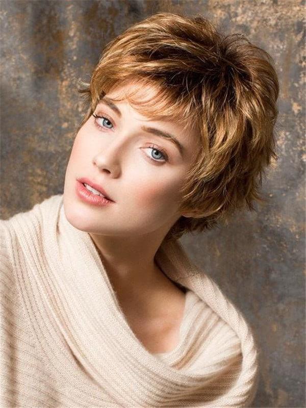 Blonde Push Up Short Synthetic Wig Basic Cap