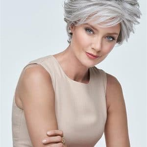 Gray Monofilament Synthetic Lace Front Wig Hand-Tied