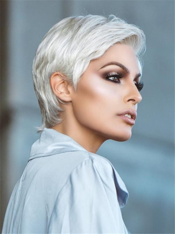 Blonde And Gray Comfort Short Synthetic Lace Front Wig For Women