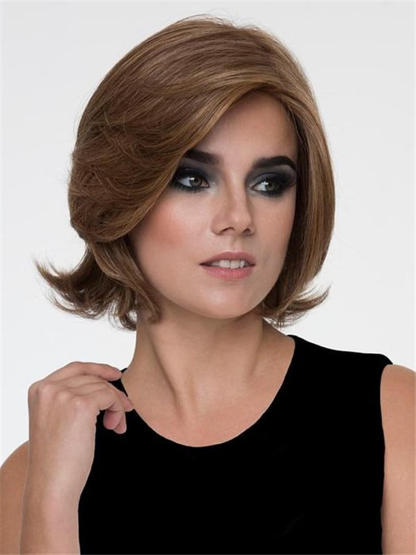 Black And Gray Human Hair Synthetic Blend Wig Rooted For Women